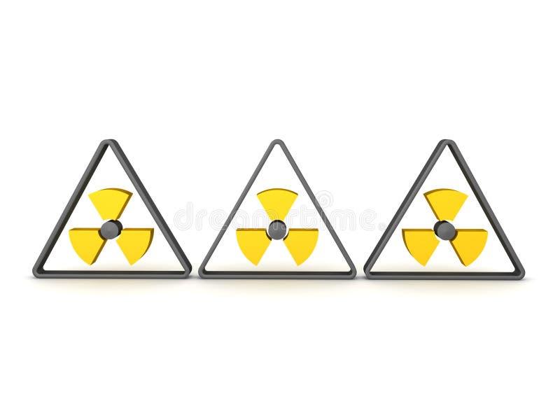 het 3D Teruggeven van drie radioactieve symbolen royalty-vrije illustratie