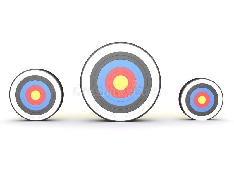 het 3D Teruggeven van drie verschillende groottedoelstellingen stock illustratie
