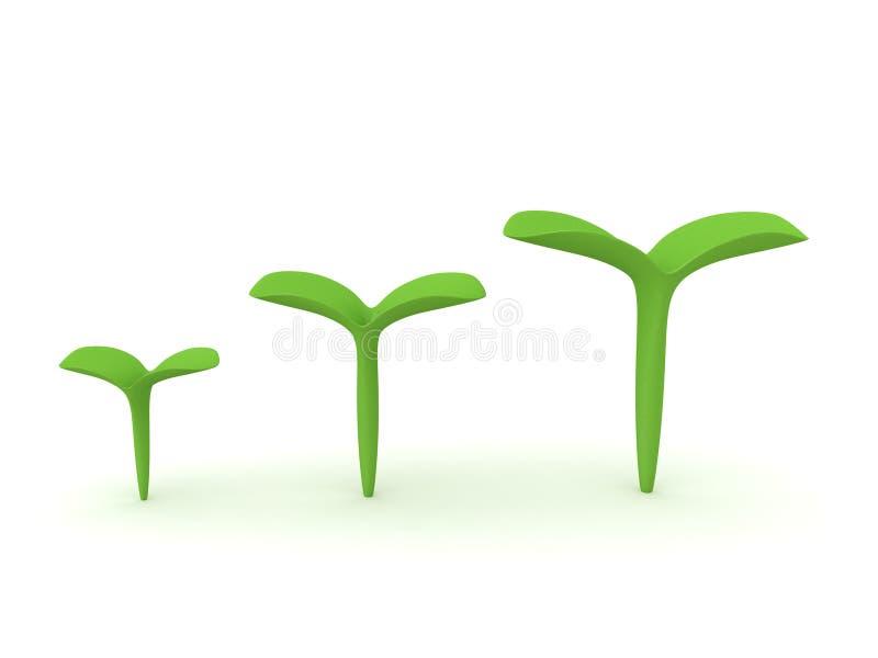 het 3D Teruggeven van drie verschillende met maat zaailings kleine installaties vector illustratie