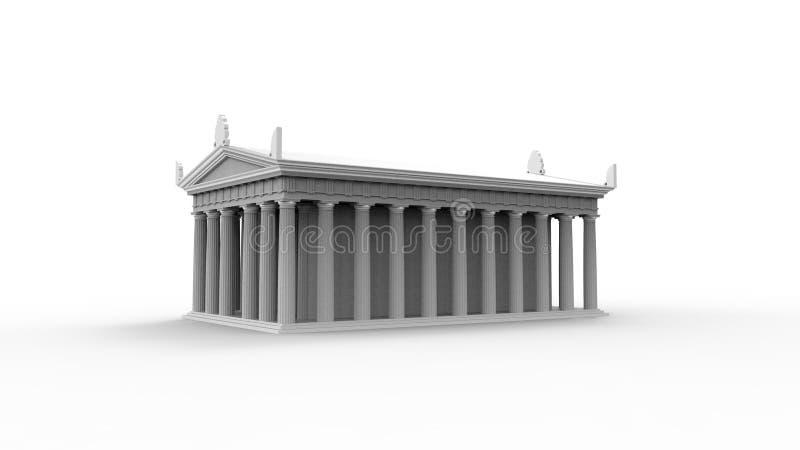het 3d teruggeven van een anchient Griekse die tempel op witte studioachtergrond wordt geïsoleerd stock illustratie