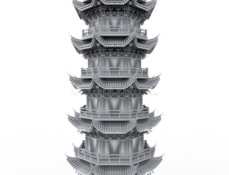 het 3d teruggeven van een Aziatische die pagodetoren op witte studioachtergrond wordt geïsoleerd vector illustratie