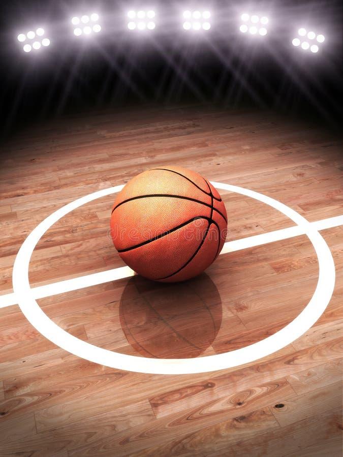 het 3d teruggeven van een basketbal op een hof met stadionverlichting stock foto