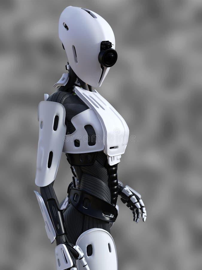 het 3D teruggeven van een bevindende vrouwelijke androïde robot nr 3 vector illustratie