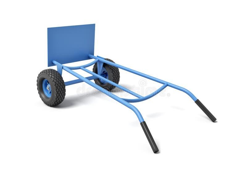 het 3d teruggeven van een blauwe handvrachtwagen met zijn handvatten neer op een witte achtergrond royalty-vrije illustratie