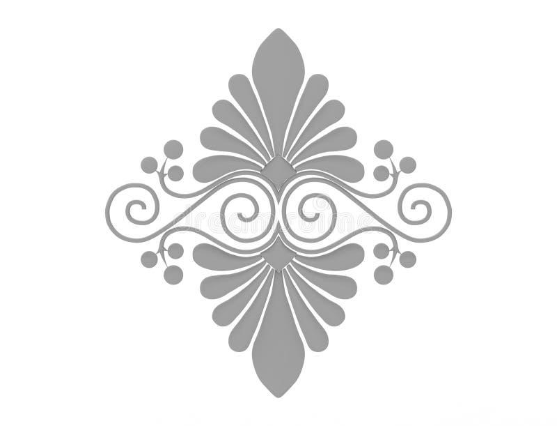 het 3d teruggeven van een bloemendieornament op witte achtergrond wordt geïsoleerd royalty-vrije illustratie