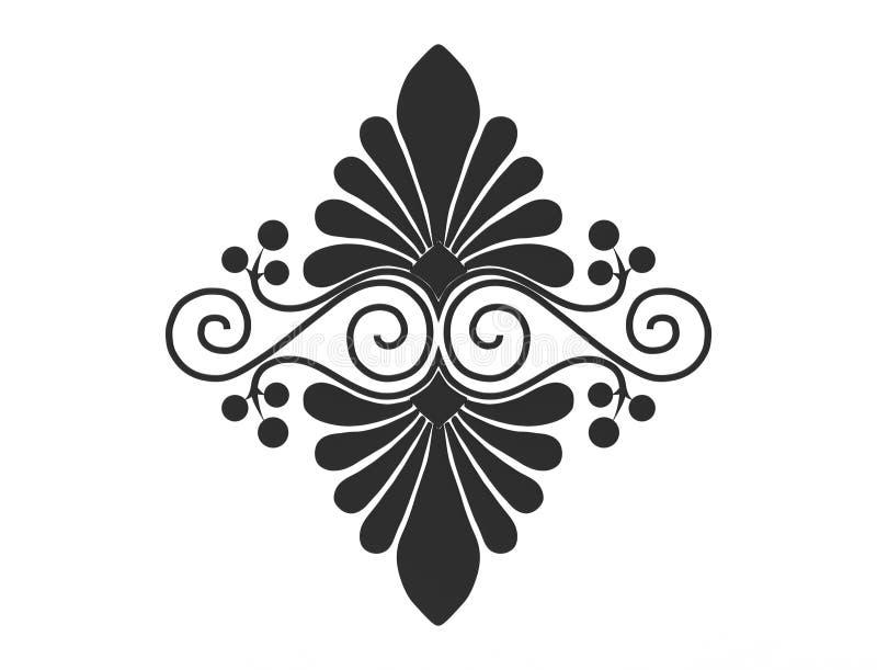 het 3d teruggeven van een bloemenornament dat op witte achtergrond wordt geïsoleerd stock illustratie