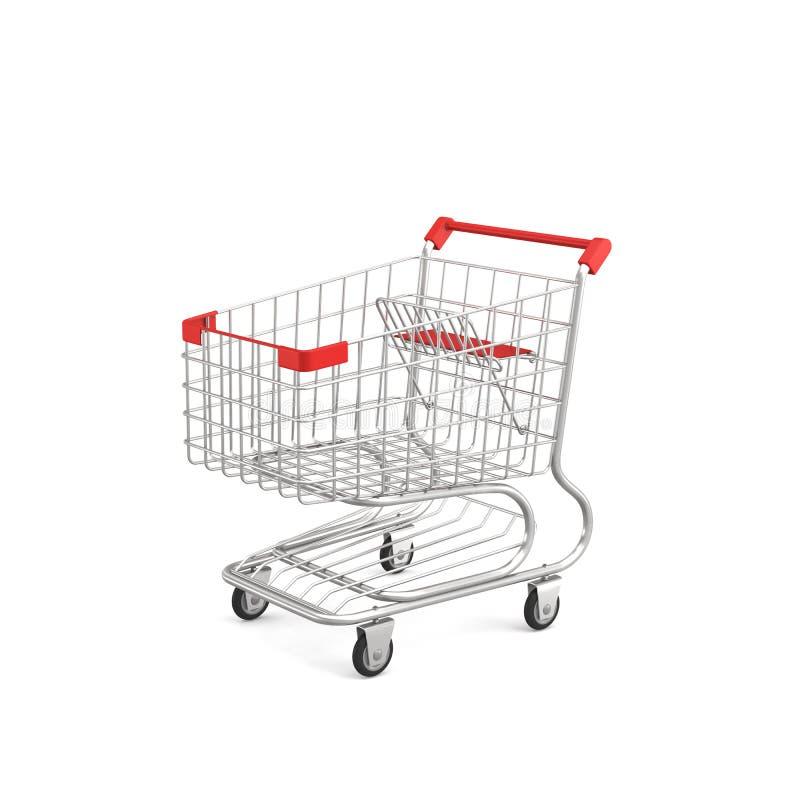 het 3d teruggeven van een boodschappenwagentje met een rood die handvat op witte achtergrond wordt geïsoleerd royalty-vrije illustratie