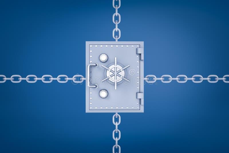 het 3d teruggeven van een brandkast van het metaalgeld met kettingen die van achter leiden het in vier verschillende richtingen o stock illustratie