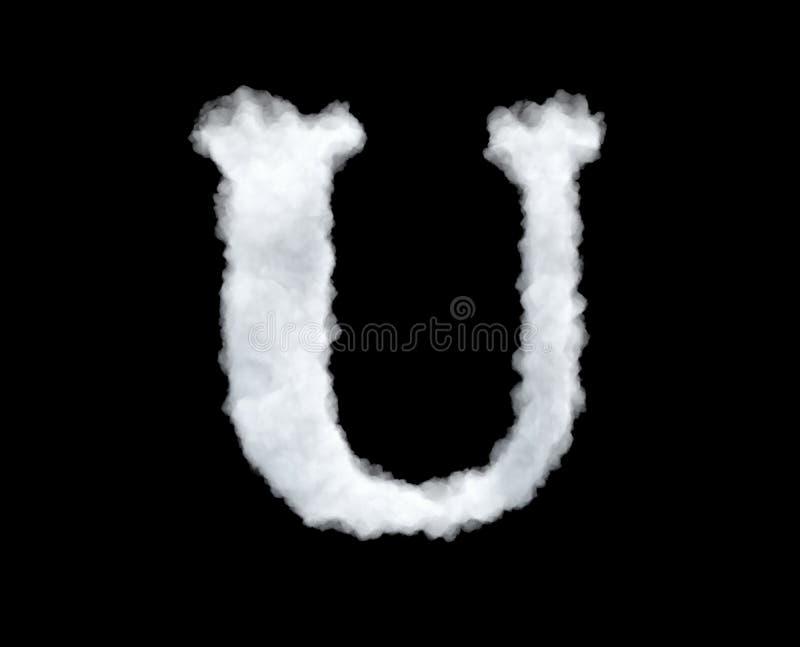 het 3d teruggeven van een brief-u-vormige die wolk op zwarte achtergrond wordt geïsoleerd stock illustratie
