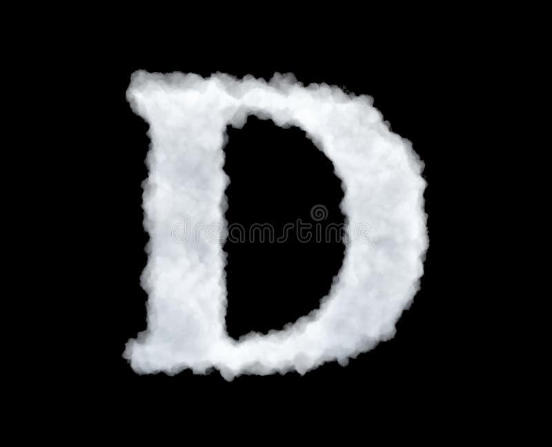 het 3d teruggeven van een brief-D-vormige die wolk op zwarte achtergrond wordt geïsoleerd vector illustratie