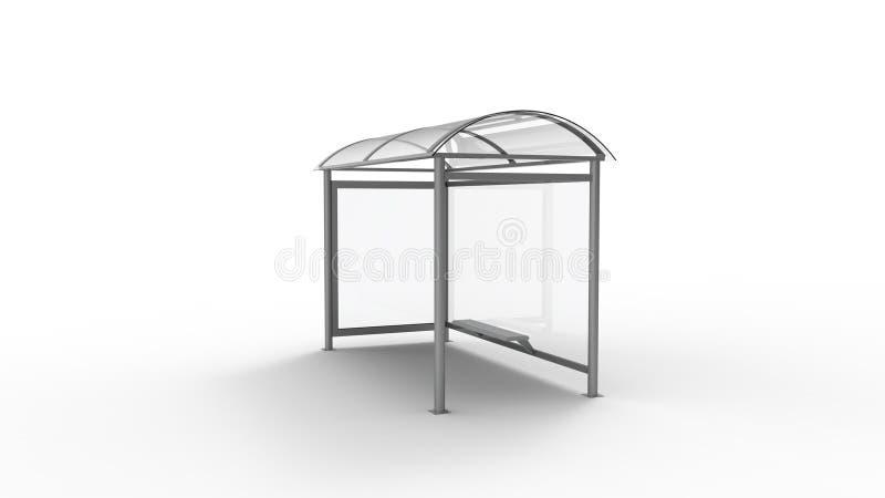 het 3d teruggeven van een bushalteschuilplaats die op witte achtergrond wordt geïsoleerd vector illustratie