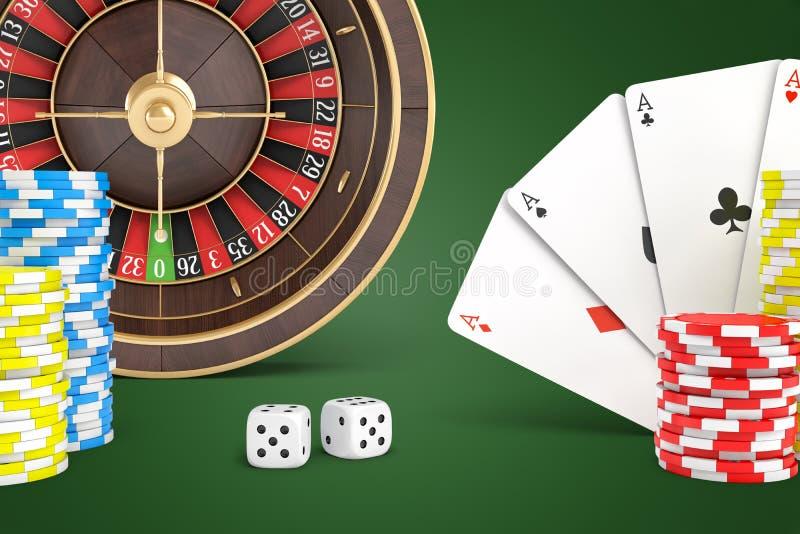 het 3d teruggeven van een casinoroulette, kaarten, spaanders en dobbelt dicht geschikt op een groene achtergrond stock afbeelding