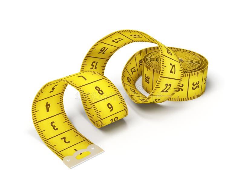 het 3d teruggeven van een geïsoleerd geel die meetlint uit met een metaalklem wordt helft-gerold op zijn eind royalty-vrije stock foto