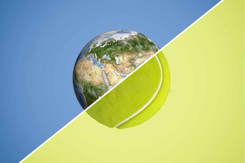 het 3d teruggeven van een gebied verdeelde in de helften met een diagonale lijn, helft die aarde en andere een tennisbal zijn stock illustratie