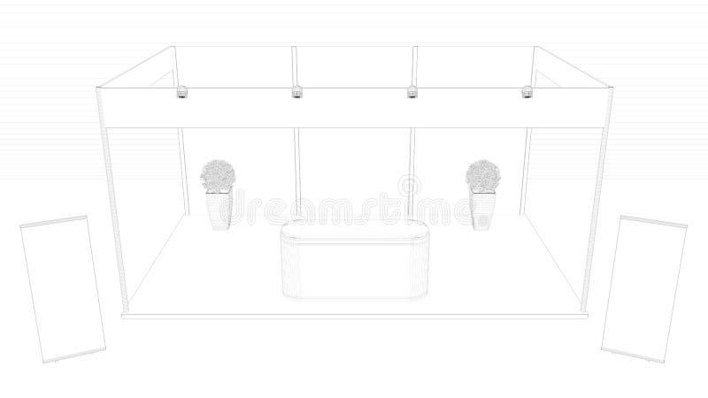 het 3d teruggeven van een geschetste die tentoonstelling op een witte backg wordt geïsoleerd stock illustratie