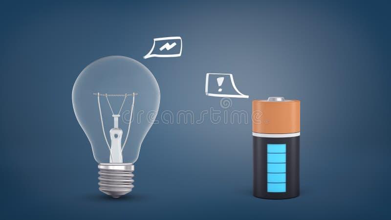 het 3d teruggeven van een gloeiende bol met een energieteken binnen een toespraakbel bevindt zich dichtbij een batterij met een u royalty-vrije illustratie