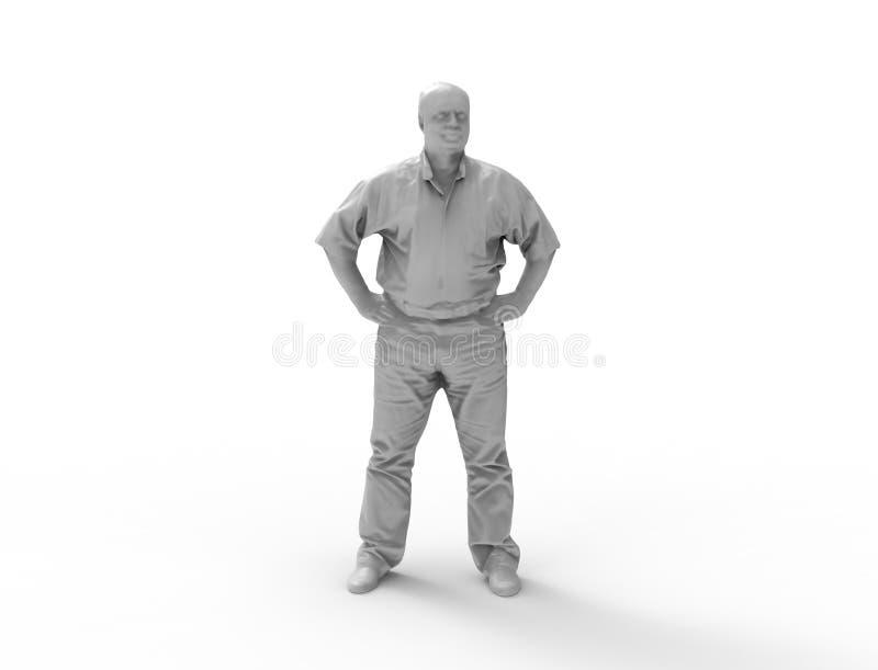 het 3d teruggeven van een grijze 3d afgetaste persoon die zich op witte studioachtergrond bevinden royalty-vrije illustratie