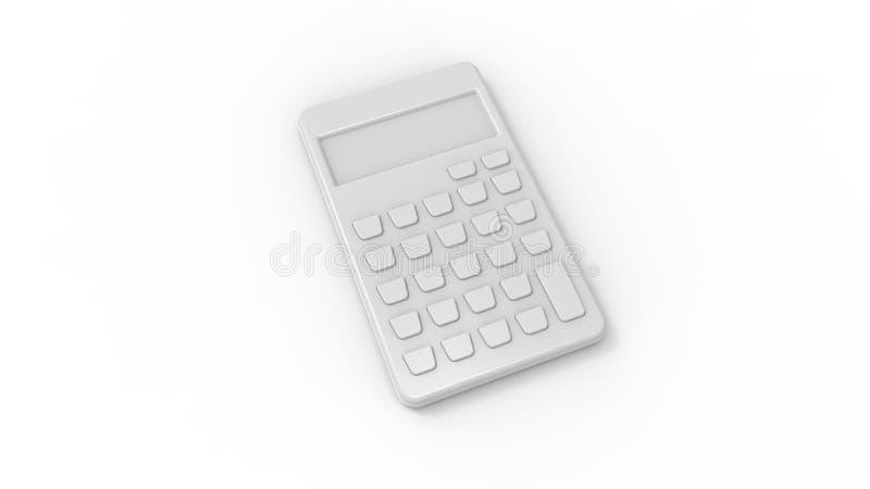 het 3d teruggeven van een grijze die calculator op witte studioachtergrond wordt geïsoleerd stock illustratie