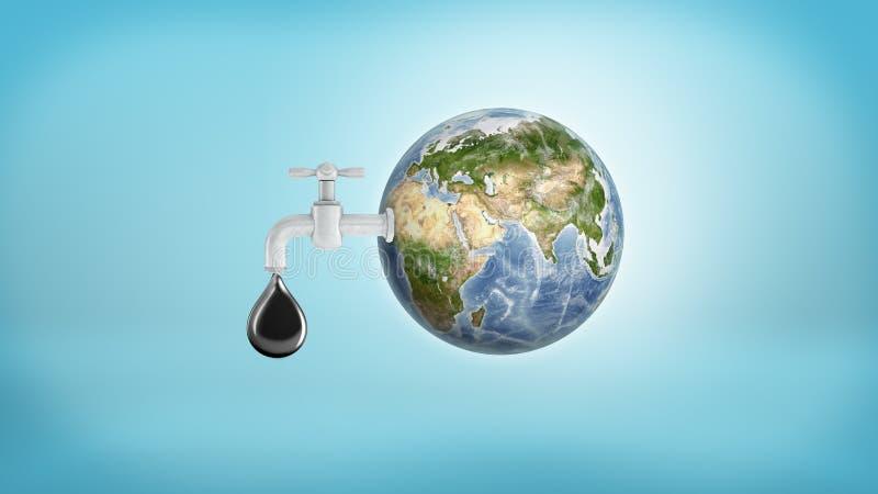 het 3d teruggeven van een grote Aardebol met een tapkraan die in zijn kant een grote oliedaling op een blauwe achtergrond lekken vector illustratie