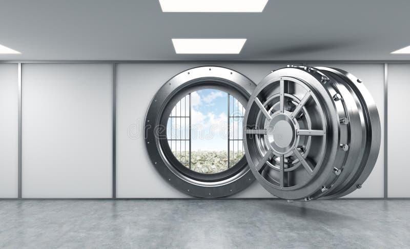 het 3D teruggeven van een grote open ronde metaalbrandkast in een bankopslagruimte stock illustratie