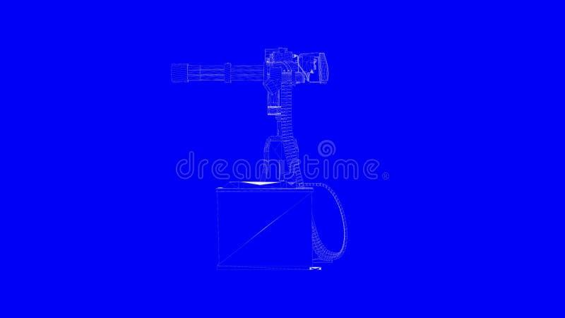 het 3d teruggeven van een kanon van de blauwdrukspruit in witte lijnen op blauwe B vector illustratie