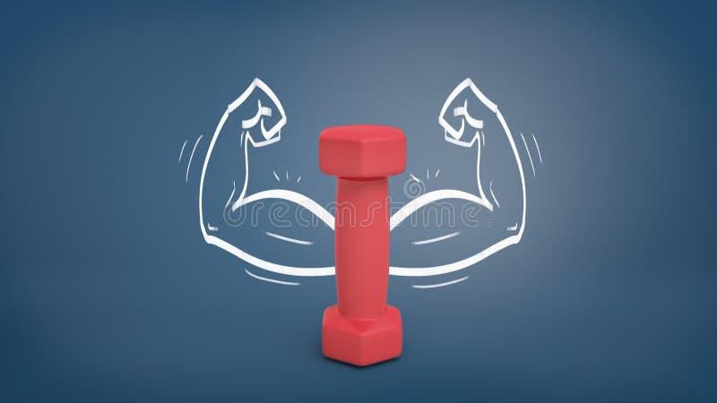 het 3d teruggeven van een kleine rode domoortribunes verticaal op een bordachtergrond met getrokken sterke wapens rond het stock illustratie