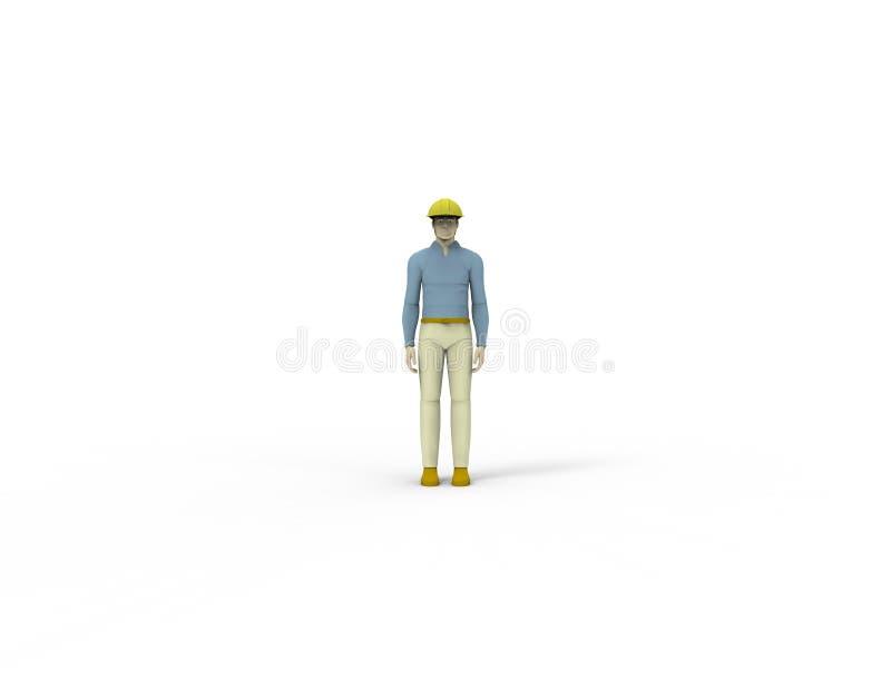 het 3d teruggeven van een mannelijke die pop met een bouwvakker op witte studioachtergrond wordt geïsoleerd vector illustratie
