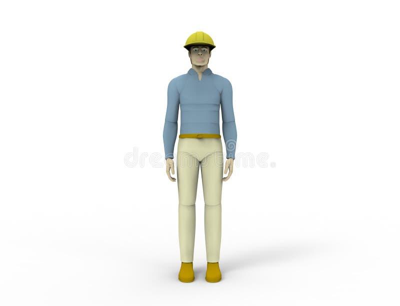 het 3d teruggeven van een mannelijke die pop met een bouwvakker op witte studioachtergrond wordt geïsoleerd stock illustratie