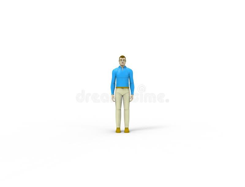 het 3d teruggeven van een mannelijke die pop op witte studioachtergrond wordt geïsoleerd stock illustratie