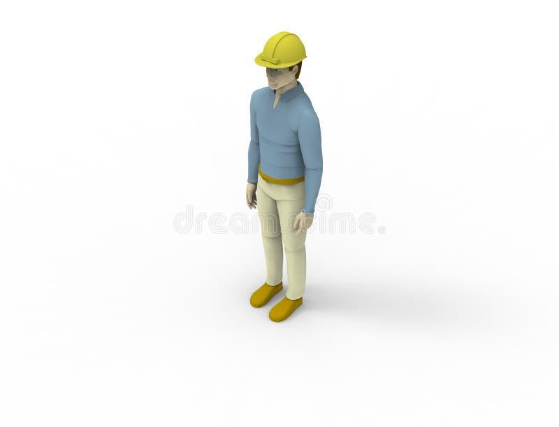 het 3d teruggeven van een mannelijke pop met een bouwvakker die op witte studioachtergrond wordt geïsoleerd royalty-vrije illustratie