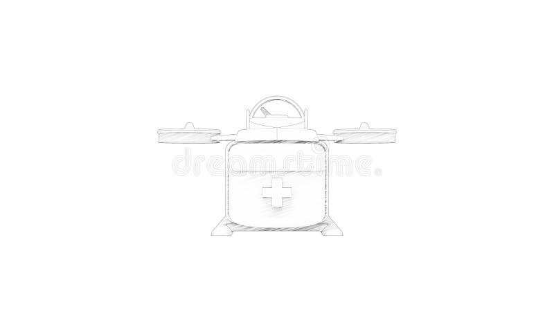 het 3d teruggeven van een medische hommel die op witte achtergrond wordt geïsoleerd vector illustratie