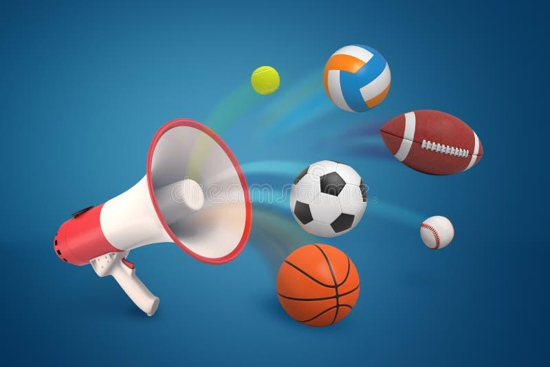 het 3d teruggeven van een megafoon en verschillende sportenballen op blauwe achtergrond royalty-vrije illustratie