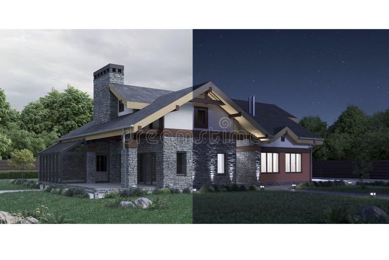 het 3d teruggeven van een modern privé huis, dag in nachtconcept vector illustratie