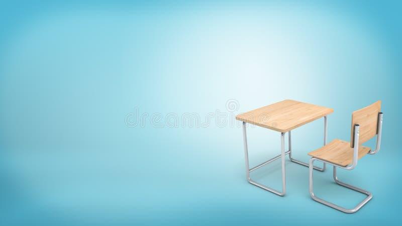 het 3d teruggeven van een moderne lichte houten die reeks van een stoel en een lijst voor school en universiteitsleerlingen wordt stock afbeelding
