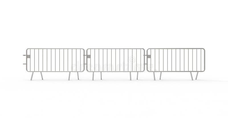 het 3d teruggeven van een omheining van de menigtecontrole die op witte achtergrond wordt geïsoleerd royalty-vrije illustratie