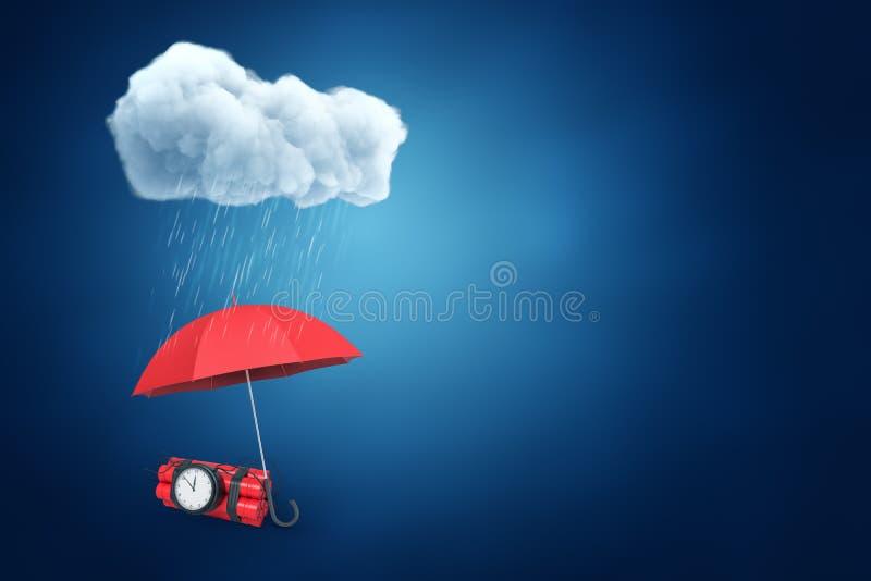 het 3d teruggeven van een paraplu die de bundel van dynamiet met een tijdbom beschermen tegen de regen, met veel verlaten exempla stock illustratie