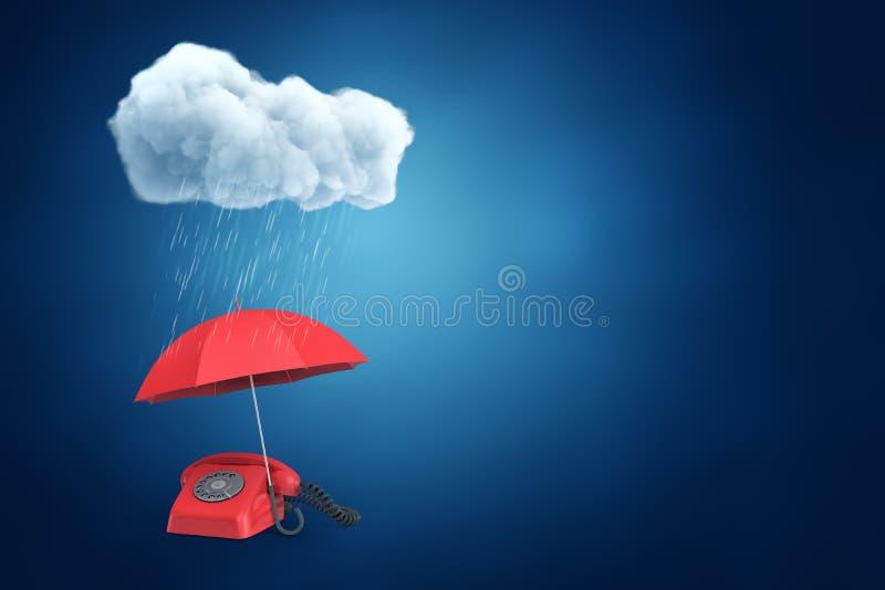het 3d teruggeven van een paraplu die een ouderwetse telefoon beschermen tegen de regen van een pluizige wolk met veel exemplaarr stock illustratie