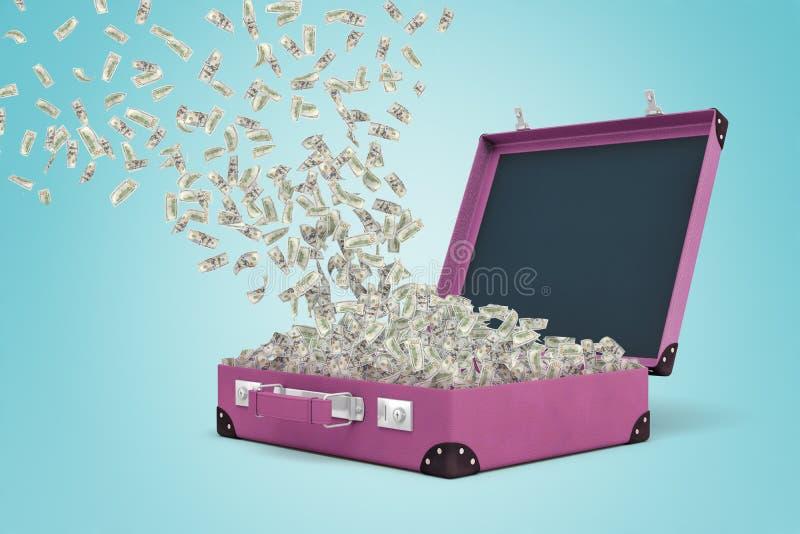 het 3d teruggeven van een purper kofferhoogtepunt van geld met wat meer in de lucht drijven en dollarrekeningen die neer komen stock illustratie