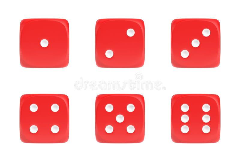 het 3d teruggeven van een reeks van rood zes dobbelt in vooraanzicht met witte punten die verschillende aantallen tonen stock illustratie