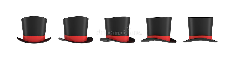 het 3d teruggeven van een reeks verscheidene zwarte tovenaar` s hoeden met één rode streep in verschillende zijaanzichten vector illustratie