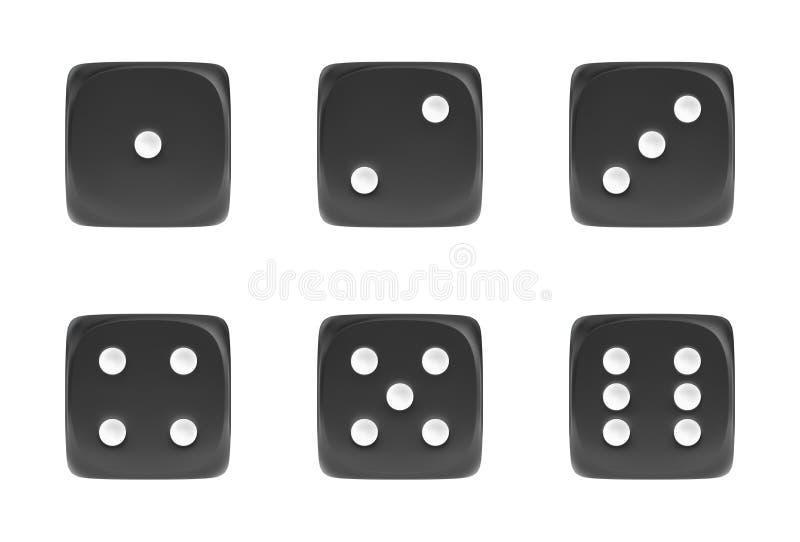 het 3d teruggeven van een reeks van zwarte zes dobbelt in vooraanzicht met witte punten die verschillende aantallen tonen vector illustratie
