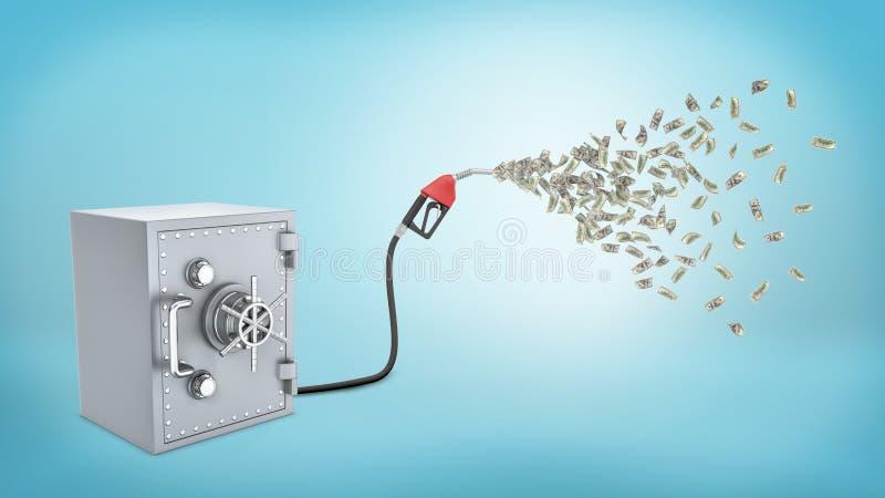 het 3d teruggeven van een retro veilige doos verbond met een benzinepomp die uit vele dollarrekeningen op blauwe achtergrond laat stock illustratie