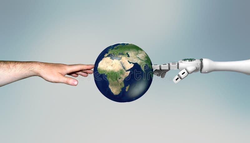 het 3d teruggeven van een robothand en een man hand wat betreft de digitale wereld stock illustratie