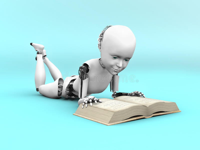 het 3D teruggeven van een robotkind die een boek lezen royalty-vrije illustratie