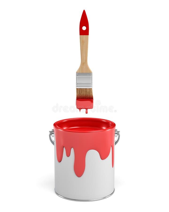 het 3d teruggeven van een rode verfkruik en een houten borstel met een rood handvat op witte achtergrond royalty-vrije illustratie