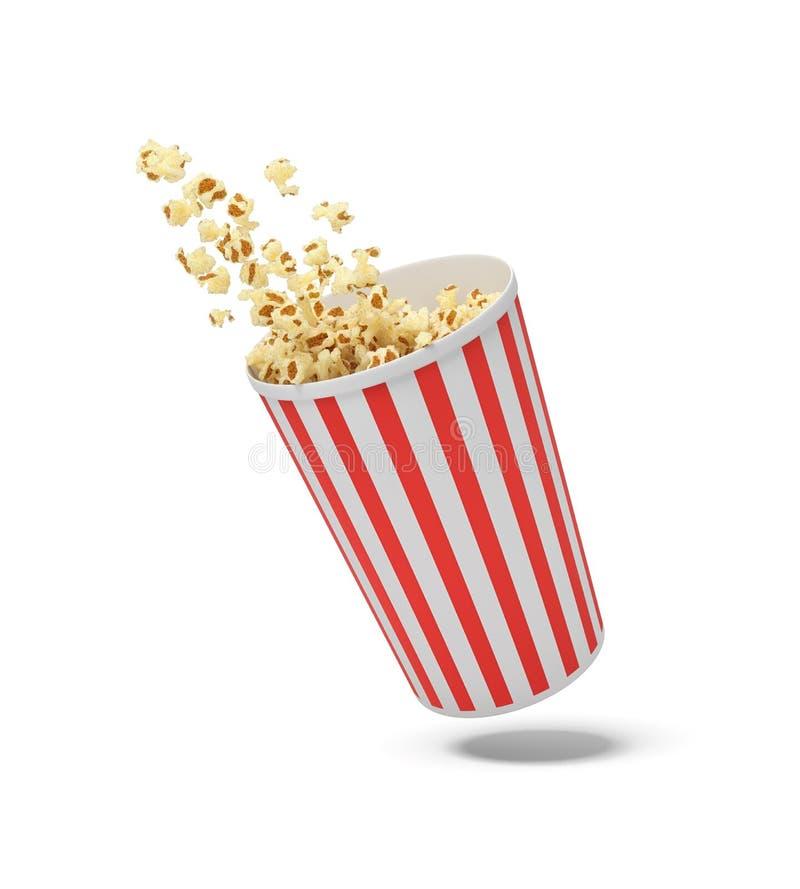 het 3d teruggeven van een ronde gestreepte popcornemmer die in de lucht met popcorn hangen die uit het vliegen vector illustratie