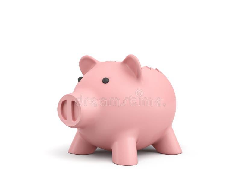 het 3d teruggeven van een roze ceramisch spaarvarken met een gebroken bovenkant op witte achtergrond royalty-vrije illustratie