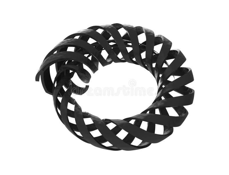 het 3d teruggeven van een spiraalvormig die voorwerp van de krommewerveling op witte studioachtergrond wordt geïsoleerd vector illustratie