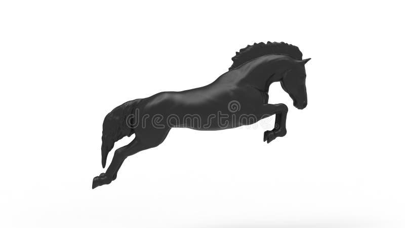 het 3d teruggeven van een het springen paard op witte achtergrond wordt geïsoleerd die stock illustratie