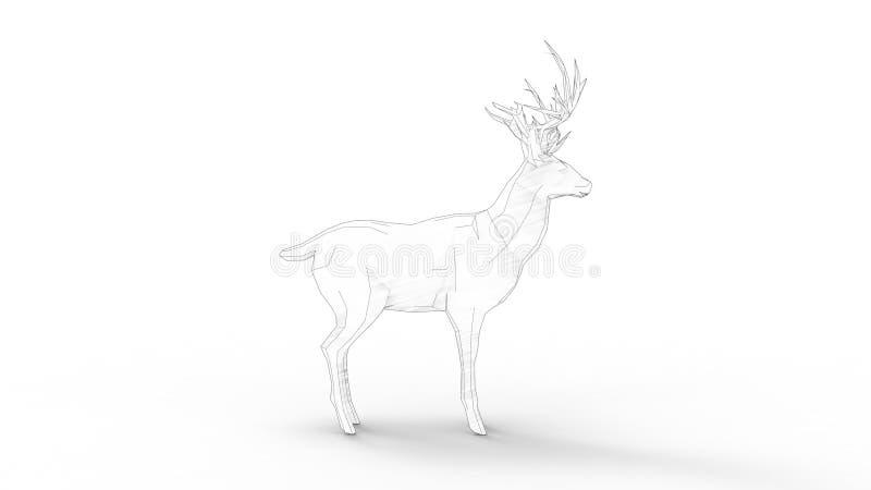 het 3d teruggeven van een veelhoekhert op witte studioachtergrond die wordt geïsoleerd stock illustratie